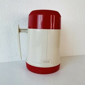 VTG Thermos Model #6002 Wide Mouth Red & Tan 10oz